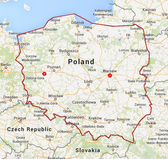 Map of Poland with marked borders and approximate location